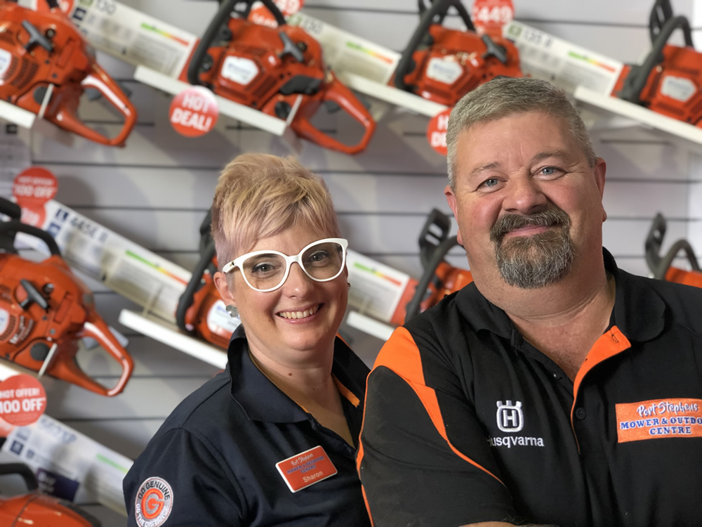 Come down to the store and meet Sharon and Mal at Port Stephens Mower & Outdoor Centre